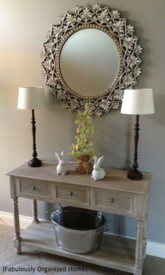 Spring Entryway   Fabulously Organized Home  I love this! Why the bucket down below though?