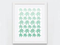 Mint Elephants Digital Print, Elephants Nursery Decor, Gender Neutral Baby Shower Gift, Mint Ombre Nursery Art Printable