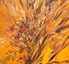 """Painting: """"""""Yellow Garden"""""""" By Farnaz Tahbaz - Persian Fine Art - Wall Decoration Picture - On Canvas - Artwork Rolled In Hard Tube - 70 X 70 Cm - Impressionism"""