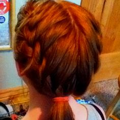 I did my friend's hair :)  2 French braids meeting into a pony tail:)