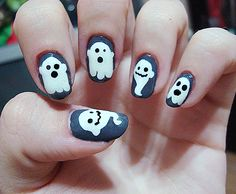 Glow in the dark ghost nails!