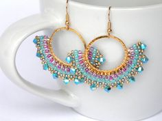 Turquoise earrings dangle, Turquoise and pink earrings, Turquoise and gold earrings, Fan earrings, Boho chic jewelry Pink Earrings, Turquoise Earrings, Beaded Earrings, Earrings Handmade, Beaded Jewelry, Handmade Jewelry, Pink Jewelry, Pearl Necklace, Drop Earrings