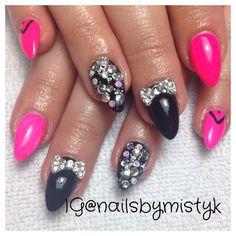 Stiletto nails. Gelish and shellac nail art. Bow nail design with gems. Neon nail art