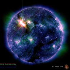 This color-coded image combines observations made by NASA's Solar Dynamics Observatory in several extreme ultraviolet wavelengths, highlighting a bright X-class flare toward the upper right of the sun's disk on March 6, 2012.