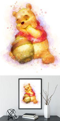Winnie the pooh, Winnie poster, Disney winnie, winnie Watercolor, winnie the pooh, nursery wall art, winnie the pooh print