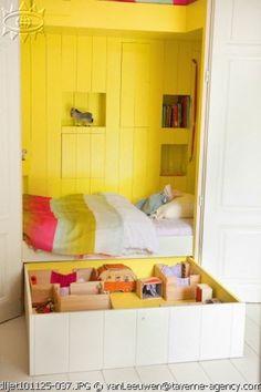 lovely built-in sleeping nook for kids