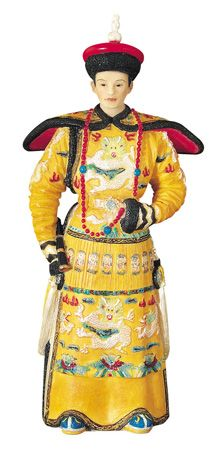 Chinese Emperor Wearing Yellow Standing Figurine
