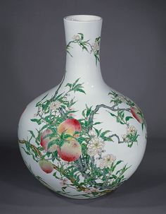 Vase with peaches, Qing dynasty (1644–1911), Qianlong mark and period (1736–95), 18th century  China  Porcelain with overglaze enamels