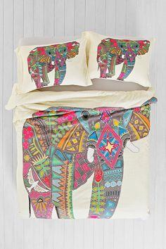 Sharon Turner for DENY Painted Elephant Duvet Cover - Urban Outfitters Elephant Duvet Cover, Elephant Bedding, Elephant Room, Happy Elephant, Elephant Print, Boho Bedding, Bedding Sets, Bedspread, Urban Bedding
