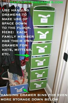 Use hanging drawers in closets so children can reach the lower drawers, and you can make use of space all the way to the floor.  Here--hats, mittens, etc. stored for each person in the family with their own drawer.  You could even fit jackets in the drawers for young kids--teach them to put them away/get them out on their own!  :)  #mom tips #harvardhomemaker