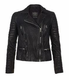 All Black Ladies Biker Leather Jacket