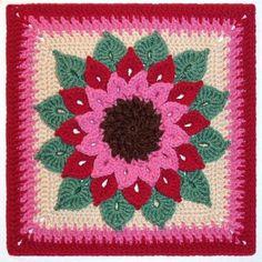 The Crocodile Flower Afghan Square - free crochet stitch crochet pattern!