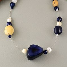 Navy blue tagua nut stylish necklace, navy blue vegetable ivory necklace with white pearls, bib navy blue tagua necklace, gift idea by NataliaNorenasilver on Etsy