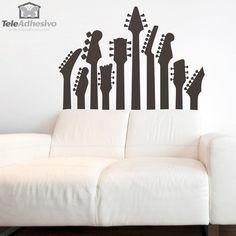 Vinilo decorativo mástiles de guitarra #decoración #pared #vinilo #guitarra #música #eléctrica #deco #TeleAdhesivo