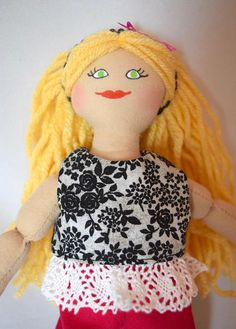 Blonde Girl Doll  Toy Doll For Kids  Handmade