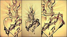 Sacred Heart, tattoo sketch made by Taty Tattoo  Cuore sacro spine sangue thorns blood fuoco fuel studio tatuaggio dotwork black and white black work bianco e nero