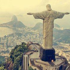 The statue of Cristo Redentor over looking Rio de Janeiro, Brazil