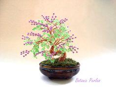 Bonsaï à baies mauves et feuilles en verre : Accessoires de maison par botanic-perles