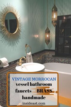 AMAZING  HANDCRAFTED faucet made of solid brass  to add glam to your bathroom. This is truly a statement piece you don't want to miss it! #bathroomrenovation#vintagebathrommvanity Morrocan Bathroom, Brass Bathroom Faucets, Moroccan Home Decor, Vanities, Solid Brass, Bathrooms, Mirror, Amazing, Vintage