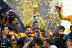 Hugo Lloris of France lifts the World Cup trophy to celebrate with his teammates after the 2018 FIFA World Cup Final between France and Croatia at Luzhniki Stadium on July 2018 in Moscow, Russia. First World Cup, World Cup Final, Second World, Fifa World Cup 2018, World Cup Russia 2018, Messi, Neymar, Ronaldo, World Cup Trophy