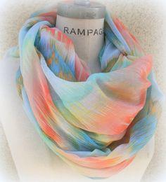 Stripped Tye Dye Scarf Infinity Scarf Summer Lightweight Colorful Women Scarf - By PiYOYO