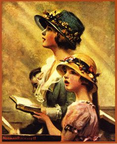 singing in church - by Norman Rockwell
