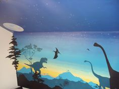 Dinosaurs wall murals for preschool classroom wall for Dinosaur mural ideas