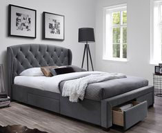 cm gray bed with padded headboard and drawers - bench Grey Bedding, Contemporary Style, Storage Spaces, House Plans, Drawers, Bedroom Decor, Bench, New Homes, Interior Design