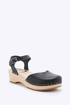 Swedish Hasbeens Covered Low Wedge Shoes in Black
