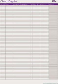 checkbook balance sheets printable