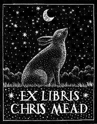 ≡ Bookplate Estate ≡ vintage ex libris labels︱artful book plates - Andy English bookplate from wood carving
