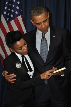 President Barack Obama and Janelle Monet