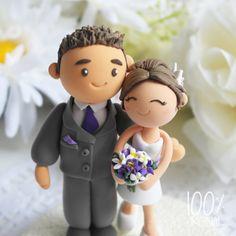 Custom Wedding Cake Topper- Purple theme wedding on Etsy, 27 Ft Marzipan, Wedding Types, Purple Themes, Custom Wedding Cake Toppers, Fondant Toppers, Sugar Craft, Occasion Cakes, Love Cake, Purple Wedding