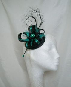 This Black & Jade Isabel fascinator mini hat is made to order only, please allow up to 10 days for making plus shipping, materials are