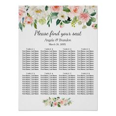 Shop Blush Pink Floral 8 Tables Wedding Seating Chart created by CardHunter. Personalize it with photos & text or purchase as is! Seating Chart Wedding, Seating Charts, Wedding Table, Wedding Posters, Personalised Wedding Invitations, Party Signs, Custom Posters, Tool Design, Custom Framing
