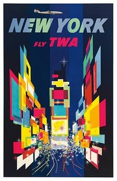 Poster advertisement for Trans World Airlines, one America's largest domestic airlines in the mid 1900s. I have to admit, I first saw this poster on TV on an auction show, but I couldn't get it out of my mind. The geometric shapes, neon palette and starry, bustling motif of Times Square give NYC an other worldly connotation when all people used to know about the city were stories of its grandeur.
