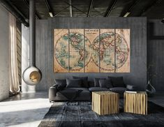 Retro Large Old World Map Wall Art Canvas World Map Canvas, World Map Wall Art, Modern Wall Paneling, 3 Piece Canvas Art, Old World Maps, Sunset Canvas, Canvas Wall Decor, Retro Home Decor, Large Painting