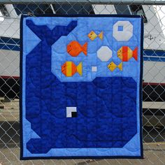 Whale and his scrappy little fish friends.  www.countedquilts.com