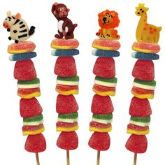 Cute candy kabob idea  with a gum ball on top