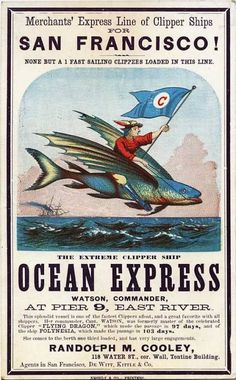 Clipper ship advertisements, circa 1850s - 1860s.