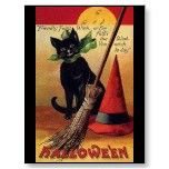 Vintage Halloween with a Black Cat, Broom and Hat Postcard
