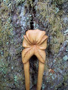 2 prong maple wood hair fork handmade hair by WoodforddellDesigns, $60.00