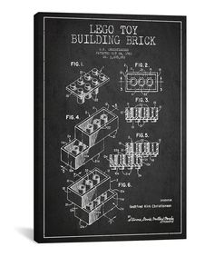 Take a look at this lego charcoal nine figure patent blueprint take a look at this lego dark brick patent blueprint gallery wrapped canvas malvernweather Choice Image