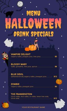 13 best halloween menu templates images in 2018