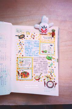 20140721【昨日的手帳主題是吃吃喝喝】 謝謝瓜送的MT烹飪紙膠帶,剪剪貼貼就很美~