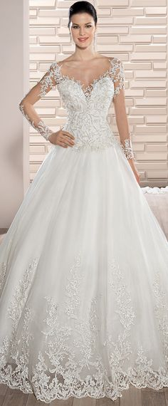 Modest Tulle Scoop Neckline A-line Wedding Dress With Beaded Lace Appliques & Detachable Train Lace Dress With Sleeves, Wedding Dress Sleeves, Dream Wedding Dresses, Dress Lace, Pastel Bridesmaid Dresses, Bridal Dresses, Green Lace Dresses, Backless Wedding, Tulle Wedding