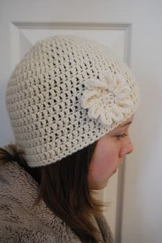 Beanie crochet Hat Pattern for woman FREE Easy to crochet hat pattern love the flower and the creators story as to why she began crocheting :)