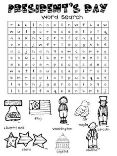 Good to have in the classroom just in case :) Freebie word search for President's Day February Holidays, School Holidays, School Fun, School Stuff, School Ideas, December, Kindergarten Social Studies, Teaching Social Studies, In Kindergarten