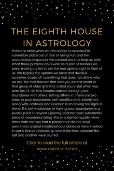 Learn more about the astrological houses. The Eighth House dives into how to take your power back, dark depths of yourself, shared energy, the super natural world, and passionate relationships. Learn Astrology, Astrology And Horoscopes, Zodiac Signs Astrology, Astrology Numerology, Astrology Chart, Sagittarius, Aquarius, Astro Tarot, Tips