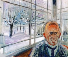 "dappledwithshadow: ""Self-Portrait on the Glass Veranda Edvard Munch, 1930-1933 """